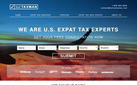 Screenshot of Home Page onlinetaxman.com - Expat Taxes, Expat Tax Services, Expatriate Tax Services | Online Taxman - captured Aug. 12, 2015