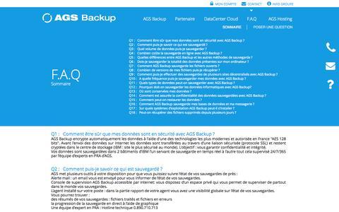 Screenshot of FAQ Page ags-backup.com - FAQ Sauvegarde en ligne AGS Backup - captured Sept. 30, 2014