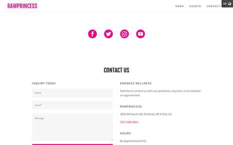Screenshot of Contact Page rawprincess.org - rawprincess  | rawprincess - captured Oct. 21, 2018