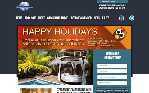 Screenshot of Home Page globaltravel.com - Global Travel International: Cruises, Hotels, Vacations, Cheap Flights - captured Nov. 26, 2015