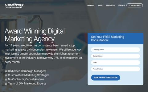 Screenshot of Home Page webimax.com - Top Digital Marketing Agency | WebiMax - captured Nov. 18, 2019