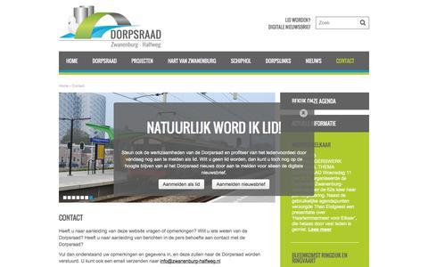 Screenshot of Contact Page zwanenburg-halfweg.nl - Contact - Dorpsraad Zwanenburg - Halfweg - captured June 9, 2016