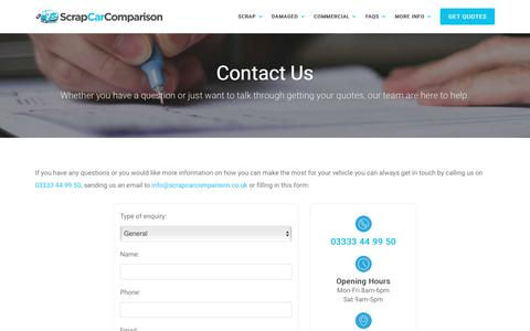 Screenshot of Contact Page scrapcarcomparison.co.uk - Get In Contact With Us | Scrap Car Comparison - captured Oct. 5, 2017