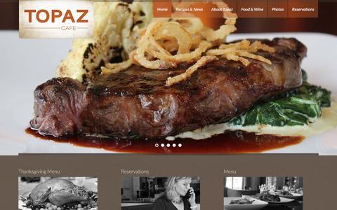 Screenshot of Home Page topazcafe.com - Topaz Café - captured Dec. 2, 2015