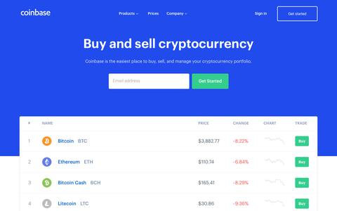 Screenshot of Home Page coinbase.com - Coinbase – Buy & Sell Bitcoin, Ethereum, and more with trust - captured Nov. 30, 2018