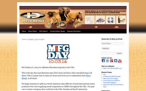 Screenshot of Blog deecometals.com - | - captured Oct. 5, 2014