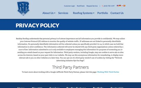 Screenshot of Privacy Page rackleyroofing.com - Privacy Policy - captured Aug. 15, 2016