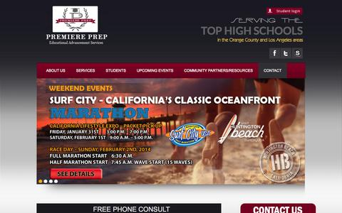 Screenshot of Contact Page premiereprep.net - Free Phone Consult - College Preparation And College Counselor Orange County - captured Sept. 30, 2014