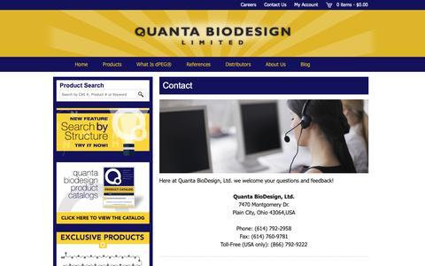 Screenshot of Contact Page quantabiodesign.com - Contact - Quanta BioDesign - captured Sept. 29, 2018