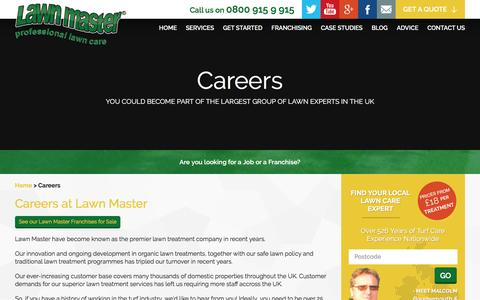 Screenshot of Jobs Page lawnmaster.co.uk - Lawn Care Careers with Lawn Master - captured July 12, 2016