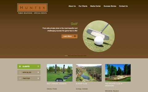 Screenshot of Home Page hunter-pr.com - Hunter PR: Golf, Spa, Hospitality and EventsHunter Public Relations - captured Oct. 3, 2014