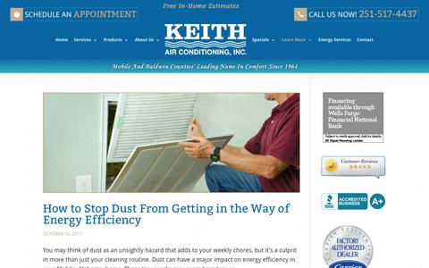 Screenshot of Blog keithair.com - Blog - Keith Air Conditioning, Inc. Serving Mobile, AL - captured Oct. 17, 2017