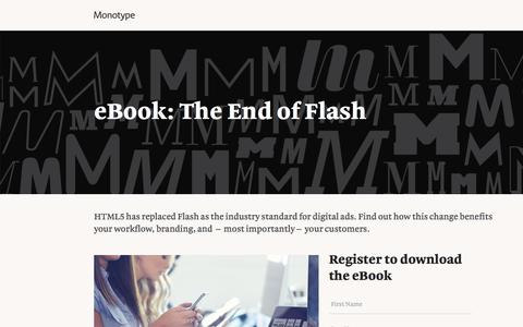 Screenshot of Landing Page monotype.com - The End of Flash eBook   Monotype - captured Oct. 23, 2016