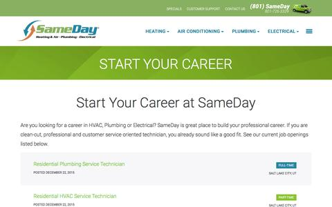 Screenshot of Jobs Page samedayutah.com - Start Your Career I Sameday Heating, Air & Plumbing - captured Nov. 18, 2016