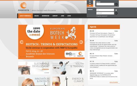 Screenshot of Home Page essenscia.be - essenscia - captured Sept. 30, 2014