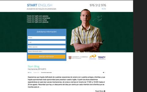 Screenshot of Blog startenglish.es - Blog | Start English | Academia de inglés en Zaragoza - captured Oct. 9, 2014