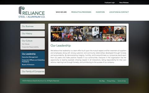 Screenshot of Team Page rsac.com - Reliance Steel & Aluminum Co. - captured Oct. 5, 2014