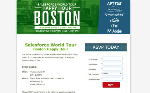 Screenshot of Landing Page apttus.com - You Are Invited! Salesforce World Tour Boston Happy Hour, April 7th 2016 - captured May 9, 2016