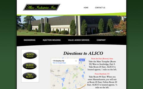 Screenshot of Maps & Directions Page alscoindustries.com - ALSCO Industries, Inc. - Injection Molding & Plastics Manufacturing - captured Oct. 4, 2014