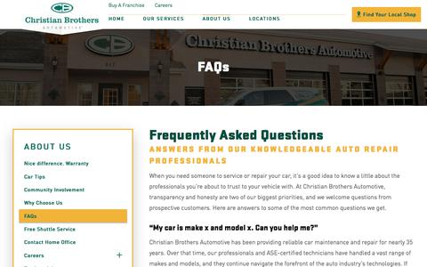 Screenshot of FAQ Page cbac.com - Frequently Asked Questions | Christian Brothers Automotive - captured Oct. 25, 2017