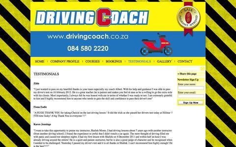 Screenshot of Testimonials Page drivingcoach.co.za - Testimonials - captured Oct. 6, 2014