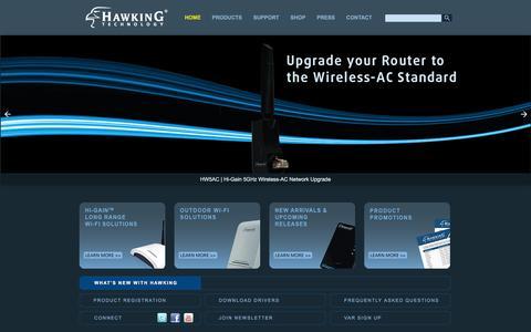 Screenshot of Home Page hawkingtech.com - Hawking Technology: High Performance Wireless Technology - captured Jan. 26, 2016
