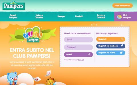 Screenshot of Login Page fatergroup.com - Accedi al Club Pampers - captured Feb. 14, 2016