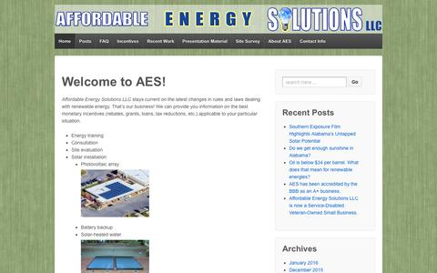 Screenshot of Home Page getaffordableenergy.com - Welcome to AES! - Affordable Energy Solutions LLC - captured Feb. 5, 2016