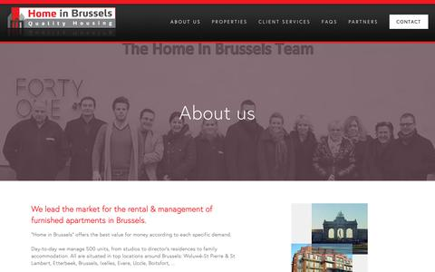 Screenshot of About Page homeinbrussels.be - About us — Home in Brussels - captured Dec. 8, 2018