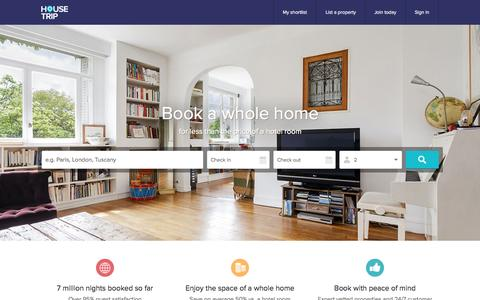 Screenshot of Home Page housetrip.com - HouseTrip – Rent Holiday Apartments, Houses, Villas & more - captured Sept. 19, 2015
