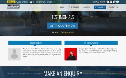Screenshot of Testimonials Page mobilepowerwashing.ie - Testimonials | Mobile Power Washing - captured Aug. 17, 2016