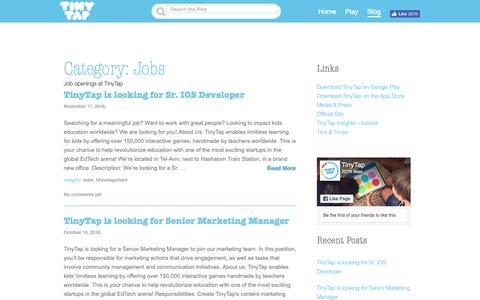 Screenshot of Jobs Page tinytap.it - Jobs | - captured Nov. 17, 2018