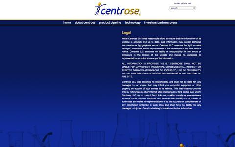 Screenshot of Terms Page centrosepharma.com - Disclaimer of Warranties - Centrose LLC - captured Sept. 13, 2014