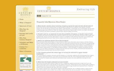 Screenshot of FAQ Page newcenturyhospice.com - New Century Hospice | Frequently Asked Questions - captured July 19, 2014