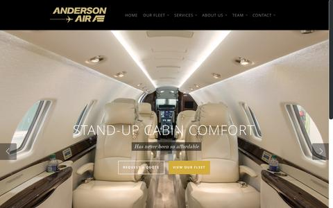 Screenshot of Home Page andersonair.ca - Executive & Private Jet Charters Vancouver | Anderson Air - captured Jan. 23, 2015