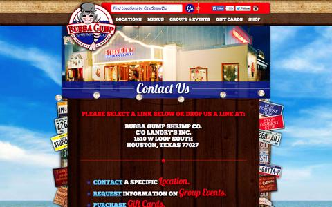 Screenshot of Contact Page bubbagump.com - Bubba Gump Shrimp Co. - Fresh Seafood, Family and Fun - captured Nov. 3, 2014