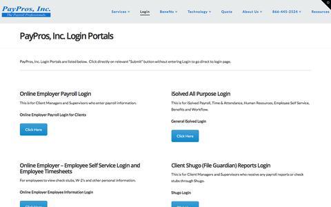 Screenshot of Login Page payprosinc.com - PayPros, Inc. Login Portals | PayPros, Inc. - captured July 16, 2018