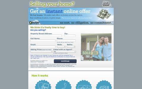 Screenshot of Landing Page zbuyer.com - Fast Cash 4 Homes - captured Oct. 27, 2014