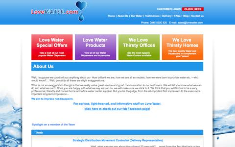 Screenshot of About Page lovewater.com - Home Water Coolers & Office Water Coolers Surrey & London | Love Water - captured Oct. 3, 2014