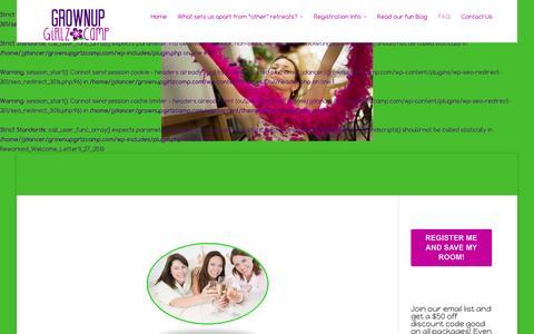Screenshot of FAQ Page grownupgirlzcamp.com - All-inclusive girlfriend getaway weekend | Grownup Girlz Camp - captured Dec. 15, 2015