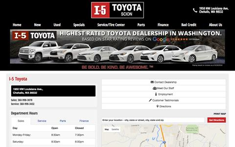Screenshot of About Page Maps & Directions Page i-5toyota.com - Location & Hours: Toyota dealership Chehalis - I-5 Toyota - captured July 19, 2016