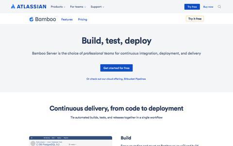 Screenshot of atlassian.com - Bamboo - Continuous integration, deployment & release management | Atlassian - captured Nov. 8, 2017