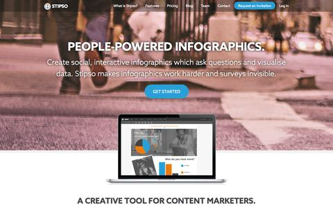 Screenshot of Home Page stipso.com - Stipso — people-powered infographics for visual content marketing - captured Oct. 7, 2014