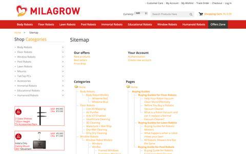Screenshot of Site Map Page milagrowhumantech.com - Sitemap - Milagrow HumanTech - captured Sept. 27, 2018