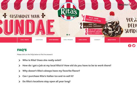 Screenshot of FAQ Page ritasice.com - Rita's FAQ | Rita's Italian Ice - captured Nov. 28, 2016