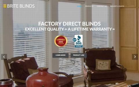 Screenshot of Products Page briteblinds.ca - Factory Direct Blinds Burnaby | Shades & Window Coverings | Brite Blinds Ltd - captured July 30, 2016