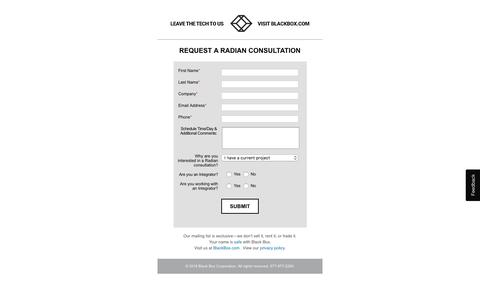 Screenshot of Landing Page blackbox.com - Request a Radian Consultation | Black Box - captured Sept. 19, 2018