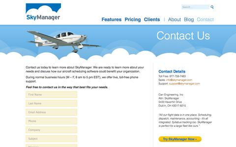 Screenshot of Contact Page skymanager.com - Contact SkyManager - captured Oct. 26, 2014