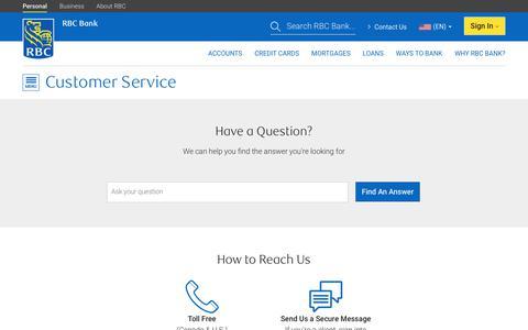 Screenshot of Contact Page rbcbank.com - Customer Service - RBC Bank - captured Aug. 22, 2019