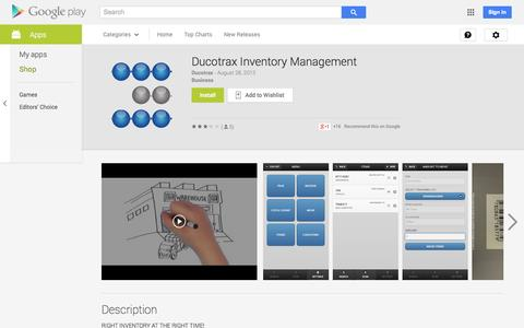Screenshot of Android App Page google.com - Ducotrax Inventory Management - Android Apps on Google Play - captured Oct. 23, 2014
